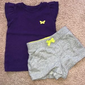 Carter's Girls 2 Pc Outfit Tee & Shorts 12 months